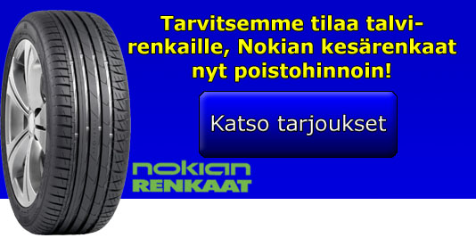 Nokian-kesärenkaiden tyhjennysmyynti