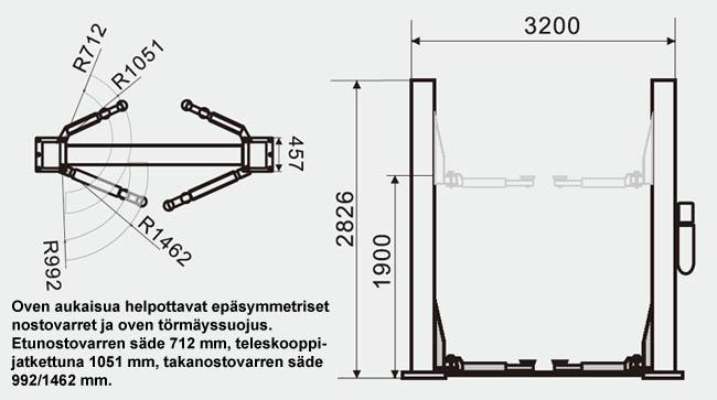 SteyrTek PL-40-2B kaksipilarinosturi mittapiirros